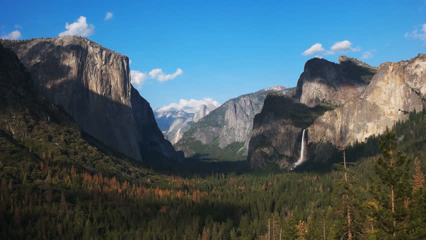 Late afternoon view of bridalveil falls and half dome in yosemite national park from tunnel view   Shutterstock HD Video #17529424