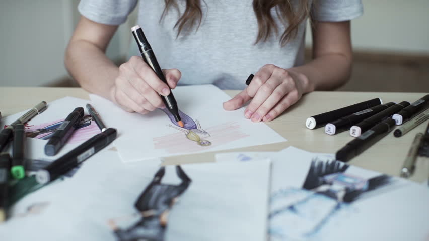 Fashion Designer Drawing And Paint Stock Footage Video 100