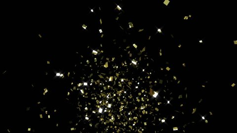 single cracker 2, gold confetti, toward camera, CG with alpha mask
