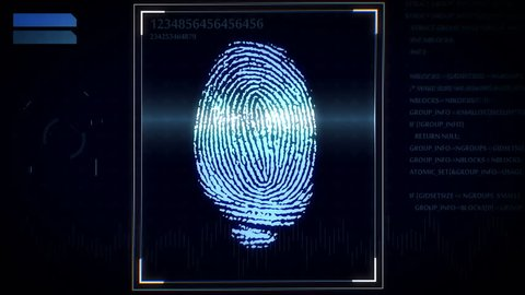 3D rendering of Fingerprint scanner, identification system.