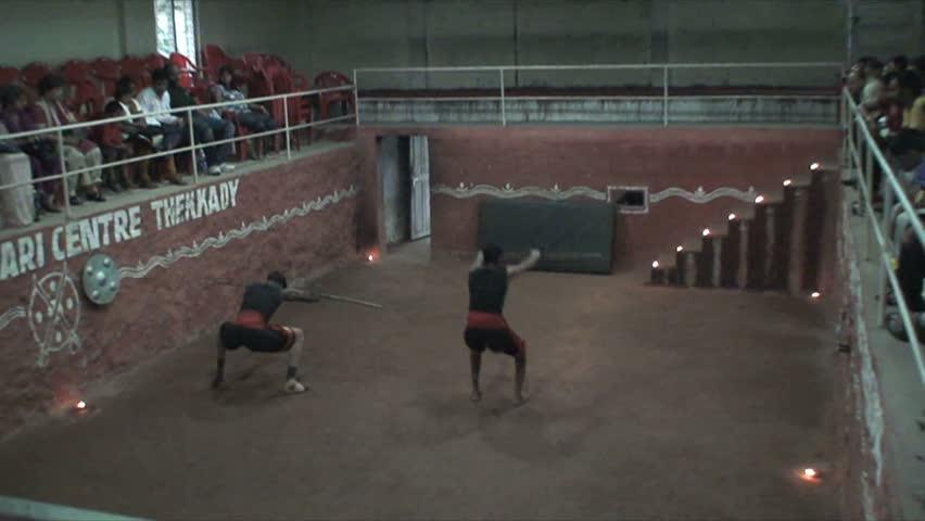 MADURAI, INDIA - CIRCA APRIL, 2011: Martial artists perform in Madurai.