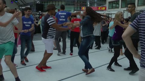 Dusseldorf, Germany - June, 11, 2016: Dussalsa Latin Festival, on one of the squares of the city is dancing Latin dance fans, editorial.