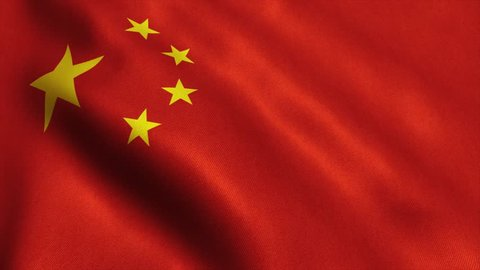 China Flag. Seamless Looping Animation. 4K High Definition Video