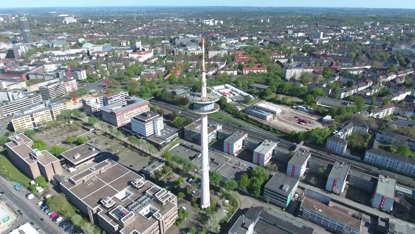 TV Tower in Essen Close to the Highway A40 and the Tracks of the local Railway within the german Ruhr Vally