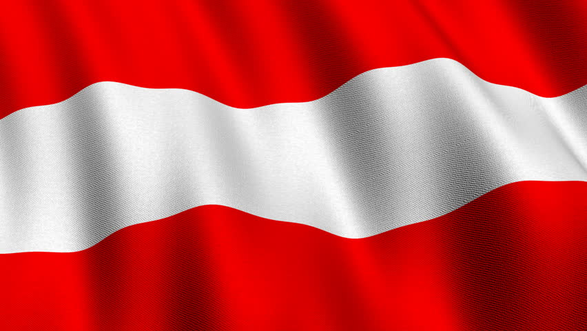 Flag of Austria waving in the wind - highly detailed fabric texture - seamless looping