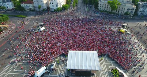 Aerial footage shows as cheering crowd welcomes the Hungarian national football team in Budapest, Hungary