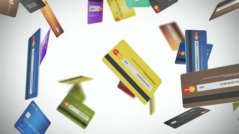 Credit Card Loop 01 - Seamlessly loopable animation of credit cards with EMV security chips floating and rotating.