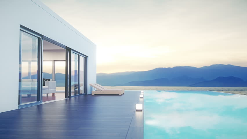 Modern Luxury House With Pool At Dawn #17642164
