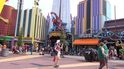 ORLANDO, FLORIDA - MARCH 18, 2016: Universal Studios theme park has become increasingly popular since opening The Wizarding World of Harry Potter And Marvel Comics Movies