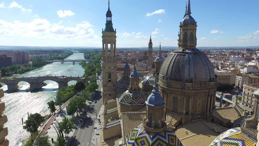 View on the city from tower of basilica of Our Lady, Zaragoza, Spain
