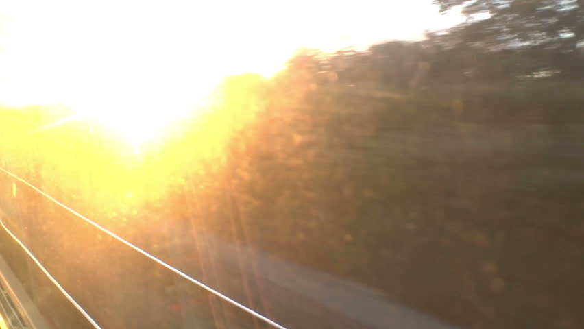 Misty Morning Rail Commute. Looking out a traveling trains window over the French countryside