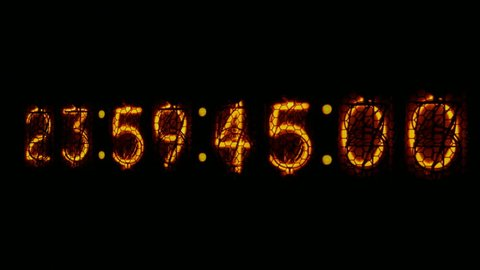 Digital clock countdown to midnight