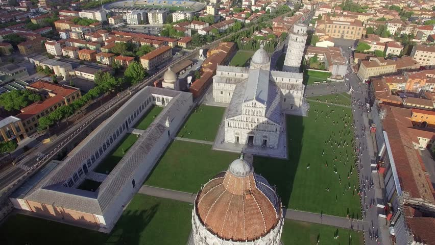 Going down from the sky with Square of Miracles view of Pisa. | Shutterstock HD Video #17701174