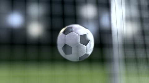soccer ball slow motion to the goal. Football ball slowmotion 4k rendering
