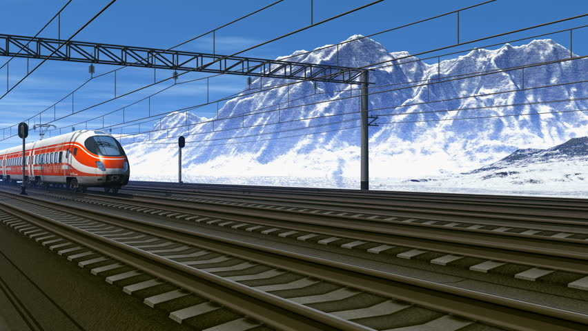 Wonderful scenery of high speed train passing railway station in high snowy mountains