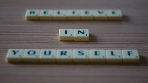 Sliding Focus on Words - Believe In Yourself