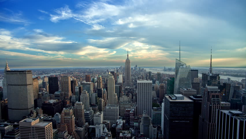 Manhattan cityscape from day to night - seamless loop - NYC timelapse