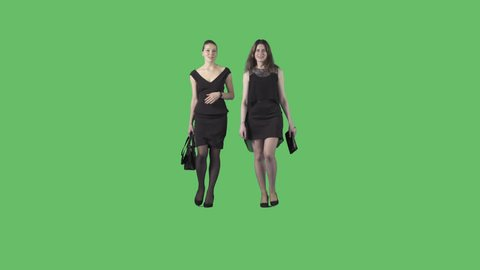Two beautiful young women in black formal dresses are walking at the camera. Camera is static. Lens 85 mm. Footage with alpha channel. File format - .mov, codec PNG+Alpha
