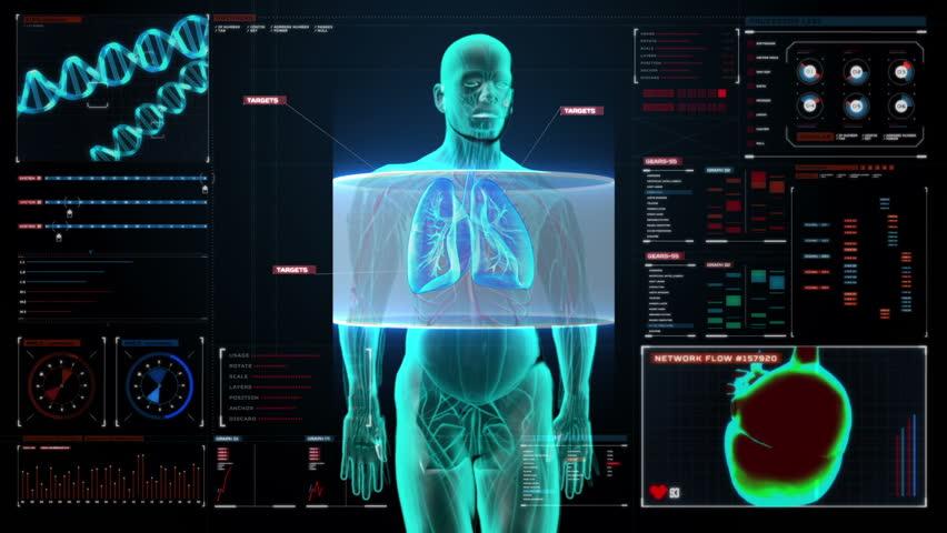 Scanning body. Rotating Human lungs, Pulmonary Diagnostics in digital display dashboard. Blue X-ray light.