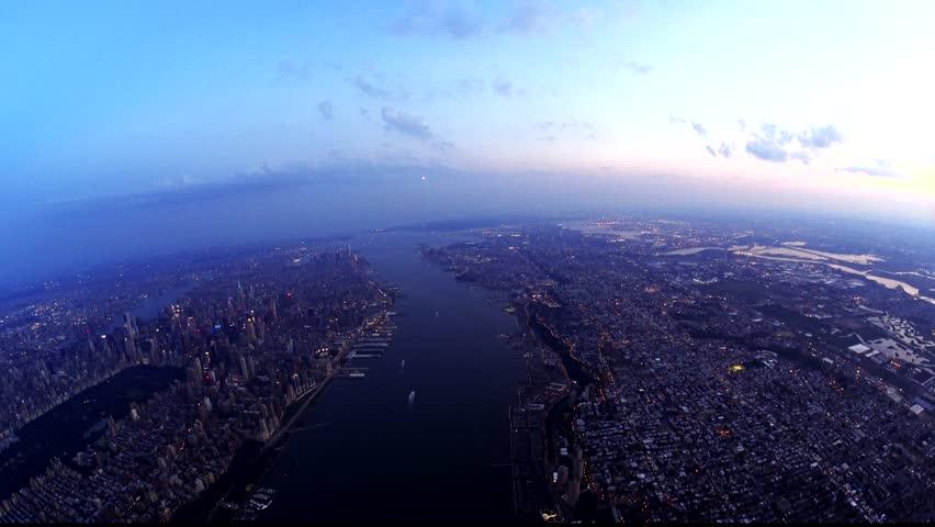 New York City dusk (8;30) 2016, clean photo plane, no plastic windows.
