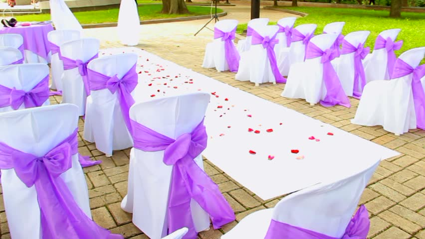 Marvelous Outdoor Wedding Settings. Chairs Decorated With Cloth For Wedding Ceremony    HD Stock Video Clip