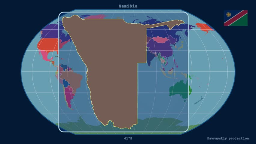 Zoomed-in view of a Namibia outline with perspective lines against a global admin map in the Kavrayskiy VII projection