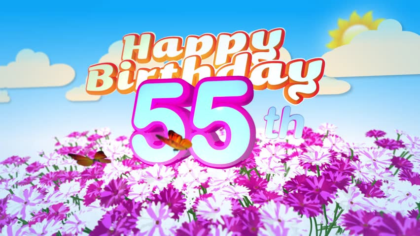 Happy 55th Birthday Card With A Field Of Flowers While Two Little Butterflys Circulating Around The Logo Twenty Seconds Seamless Looping Animation