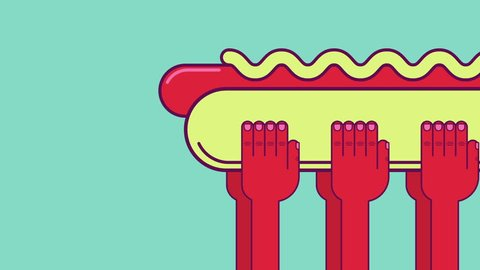 Hot dog funeral. Three pairs of hands bear a giant hot dog bun as a coffin with dead sausage in it. Healthy lifestyle concept animation. Looped.