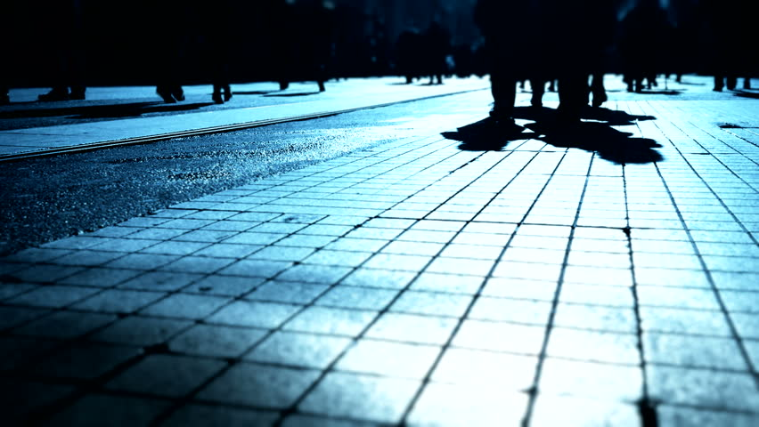 People Walking In The Street, Blurry   HD Stock Video Clip