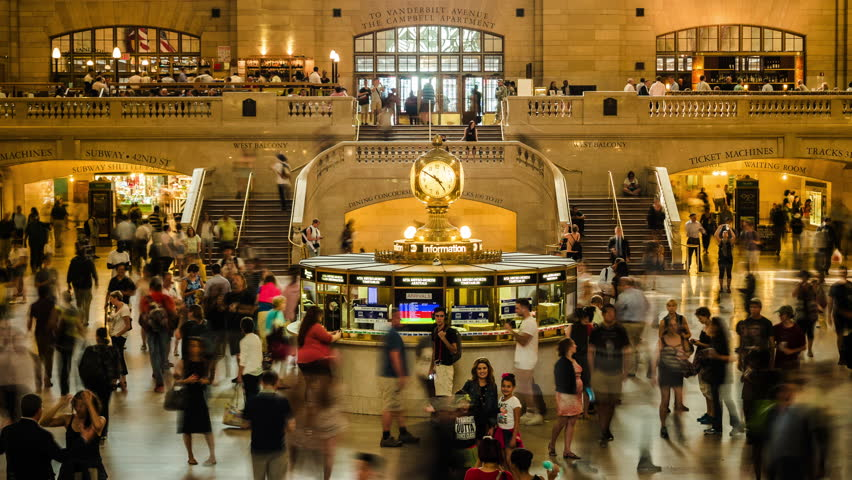 Grand Central Station time lapse view in Manhattan, New York City, United States.