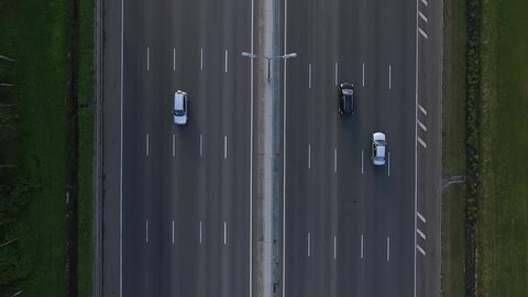 Close-Up Aerial View of Traffic on the Motorway Mkad in Moscow City, Russia