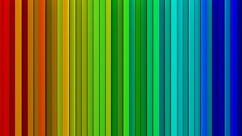 Bright rainbow gradient extruded vertical lines. Geometric 3D render animation. Computer generated seamless loop abstract background 4k UHD (3840x2160)