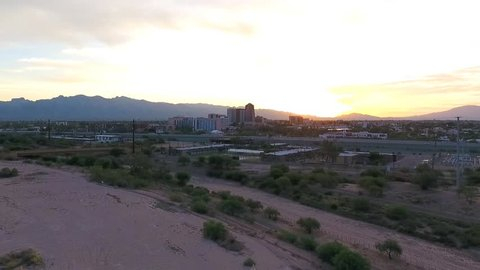 Aerial shot approaching downtown Tucson, Arizona