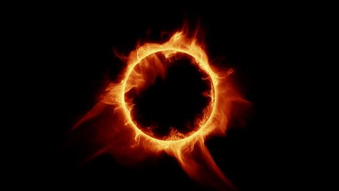 Burning ring of fire. Perfect loop of flaming ring, for compositing.