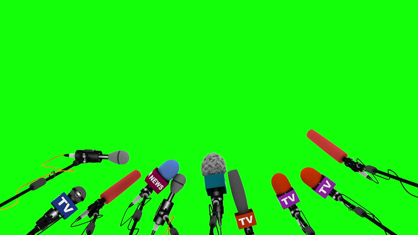 Press and media conference microphones animated on green background