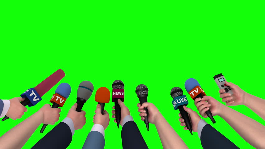 Microphones in the hands of journalists on green background, 3D animation