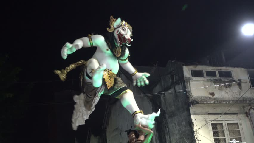 Ogoh-Ogoh parade preceding Nyepi in Denpasar, Indonesia, 8th of March 2016