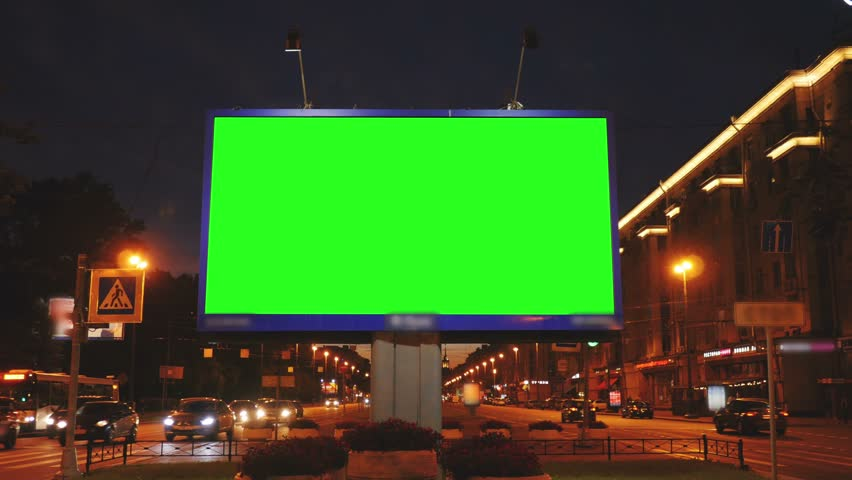 A Billboard with a Green Screen on a Busy  Street | Shutterstock HD Video #18117604