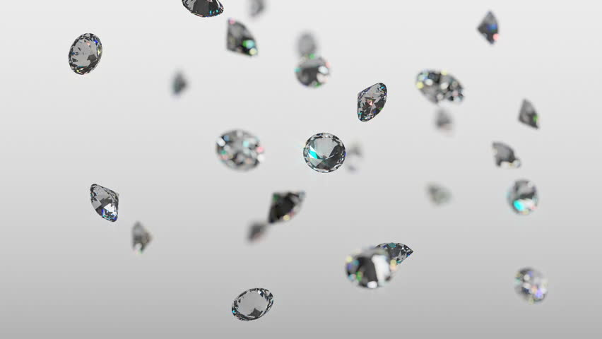 Seamless loop of realistic brilliant diamonds raining down in slow motion with a soft focus and light gray background