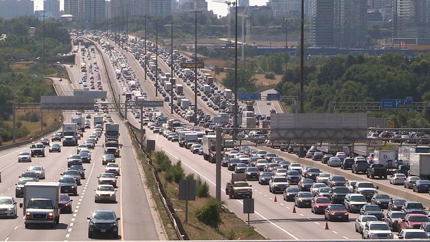 Toronto, Ontario, Canada July 2016 Epic rush hour gridlock traffic jam on Toronto highway 401