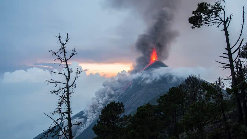 4k Timelapse of active Fuego Volcano Erupting at Sunset | Shutterstock HD Video #18150814