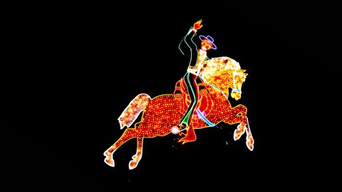 Neon Rodeo Cowboy Riding Animated Bucking Horse - Las Vegas - Circa July 2016