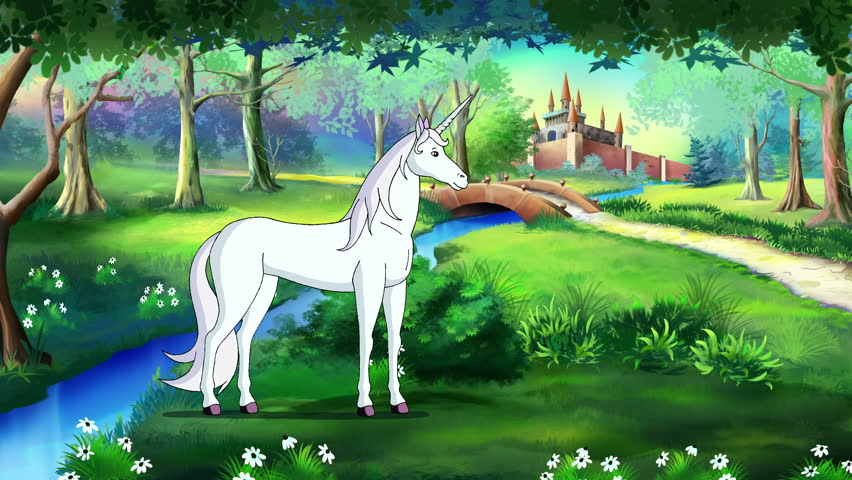 Fairy Tale Unicorn in a Magical Forest . Handmade animated motion graphic.