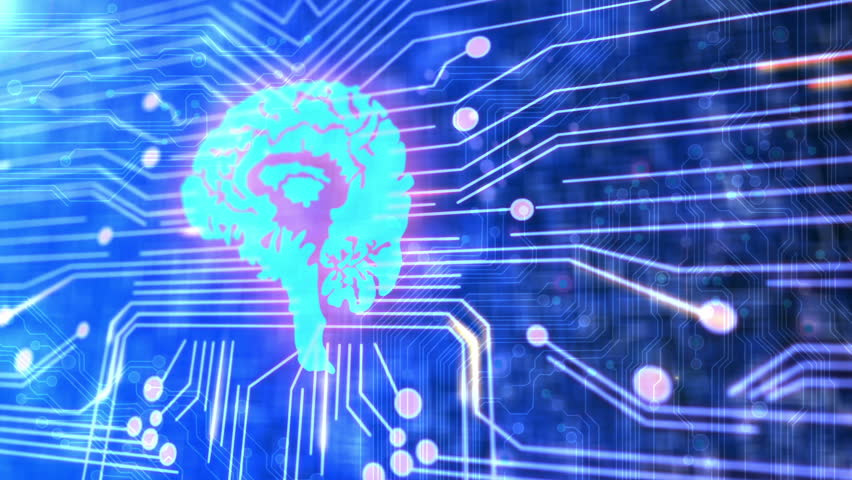 Animation of a circuit board and human brain.