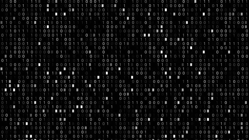 Screen with fast changing and scrolling binary codes listing black background texture