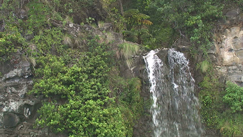 Aerial of a waterfall on the Big Island of Hawaii