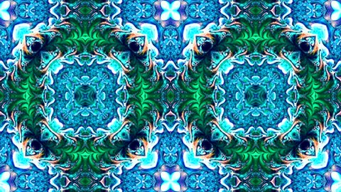 Abstract surreal loop motion background, variegated kaleidoscope