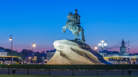 Peter the Great monument (Bronze Horseman) on the Senate Square night timelapse hyperlapse. Tourists walking around at summer white night. ST PETERSBURG, RUSSIA