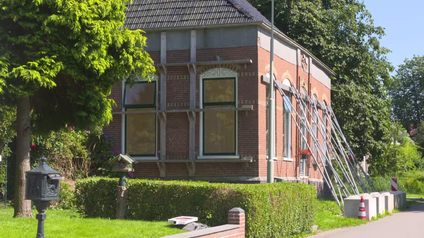 Propped Monumental House In The Earthquake Zone Of Groningen