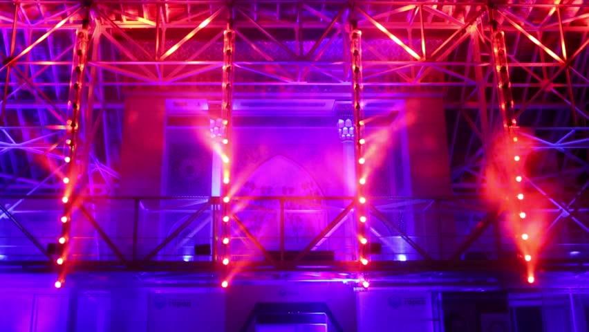 Dance Floor With Mirror Balls And Red Lattice Framework